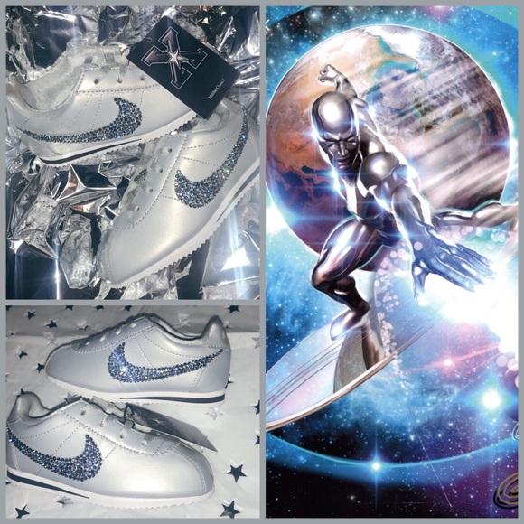 Silver Surfer Nike Cortez sz 10 C W crystals